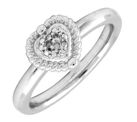 Simply Stacks Sterling Heart Ring With Diamondsin Center