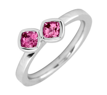 Simply Stacks Sterling Pink Tourmaline Double-Sq Gemstone Ring