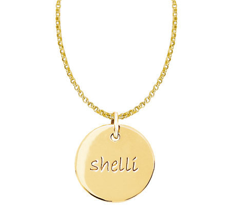 Posh Mommy 18K Gold-Plated Sterl. Medium Disc Pendant w/ Chai