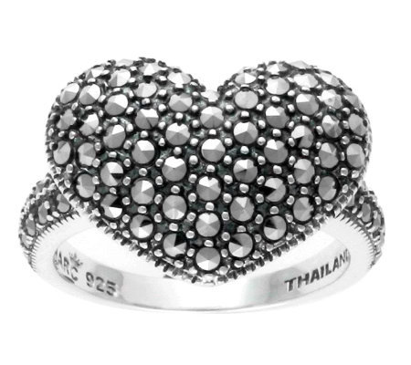 Suspicion Sterling Marcasite Domed Heart Ring