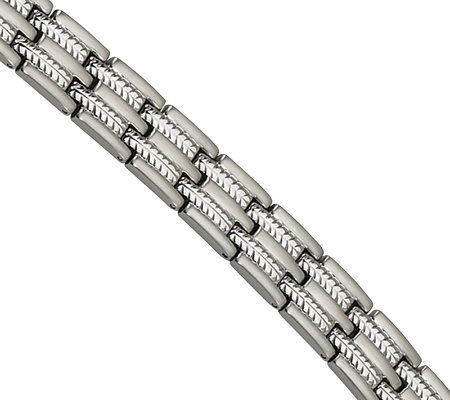 "Forza 8-1/2"" Brushed and Polished Cable Inlay Bracelet"