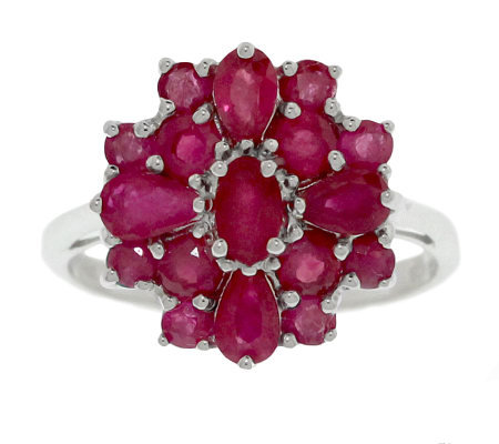 Sterling 1.65 ct tw Ruby Cluster Ring