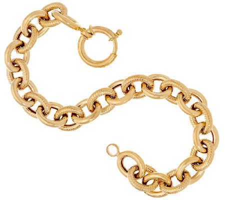 "14K Gold 7-1/4"" Textured & Polished Rolo Link Bracelet, 9.8g"