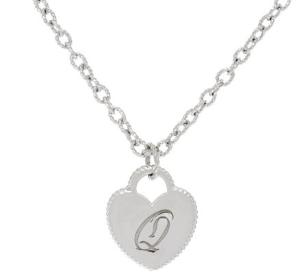 Judith Ripka Sterling Verona Initial Heart Charm Necklace