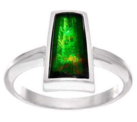 Ammolite Triplet Elongated Sterling Silver Ring