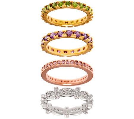 The Elizabeth Taylor Set of 4 Simulated Gemstone Rings