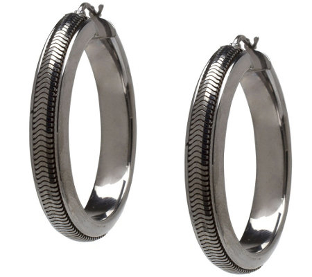 Italian Silver Sterling Snake Chain Round Hoop Earrings