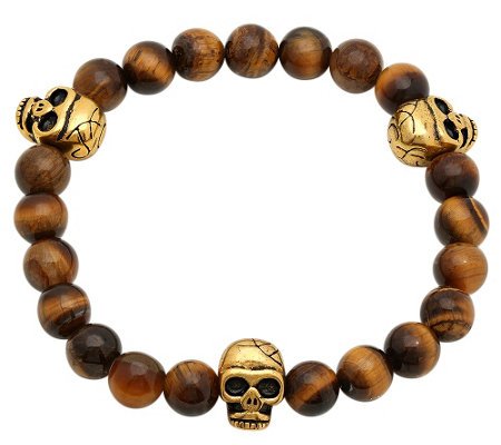 Forza Men's Stainless Tiger Eye Stretch Bracele t w/ Skulls
