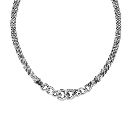 "Sterling Mesh & Curb Link Crystal 16-1/2"" Necklace"