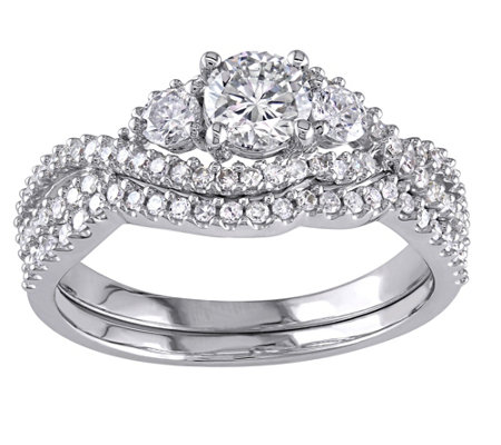3-stone Round Diamond Ring Set, 14K, 1.10 cttw,by Affinity
