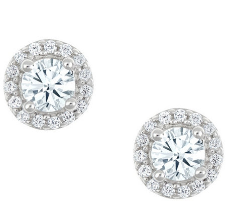 Round Halo Earrings, 14K White Gold, 1 cttw, byAffinity