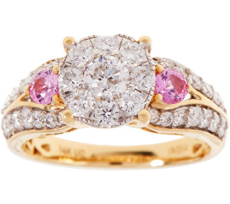 Cluster Diamond & Pink Sapphire Ring, 14K Gold 1.20 cttw, by Affinity