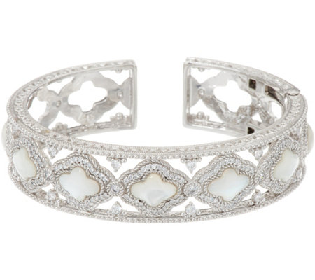 Judith Ripka Sterling Silver Diamonique & Mother of Pearl Cuff Bracelet
