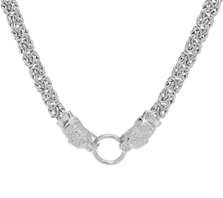 "Italian Silver Panther Design 20"" Byzantine Necklace Sterling, 29.0g"