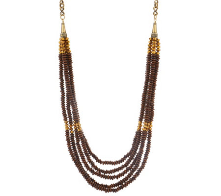 "Joan Rivers Layered Wooden Bead 38"" Necklace w/ 3"" Extender"