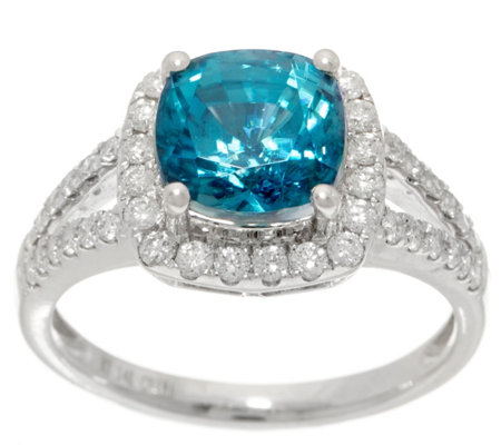 Cushion Cut Blue Zircon and Diamond Ring, 3.00 cttw, 14K
