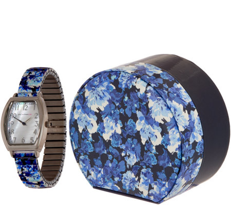 Isaac Mizrahi Live! Watercolor Floral Print Expansion Watch