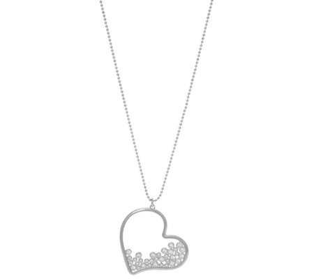 "Diamonique Heart Pendant with 30"" Chain, Sterling or 18K Plated"