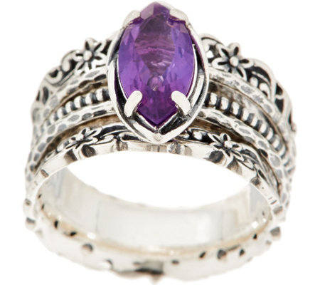 Or Paz Sterling 1.55ct Amethyst Marquise Spinner Ring