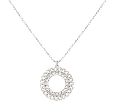 Diamonique Curb Design Pendant with Chain, Sterling Silver
