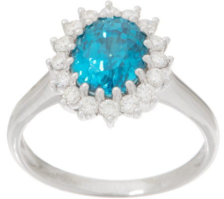 Blue Zircon and Diamond Scalloped Design Ring, 3.00 cttw, 14K