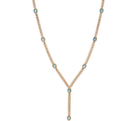 Imperial Gold Gemstone Y-Necklace, 14K Gold