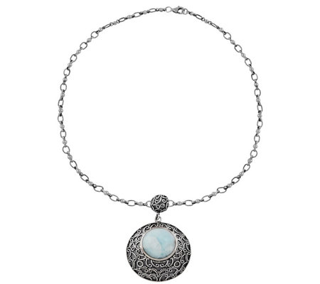 "Artisan Crafted Sterling Silver 18"" Larimar Necklace"