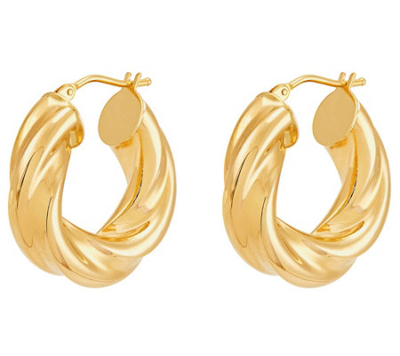 EternaGold Round Twisted Hoop Earrings 14K Gold