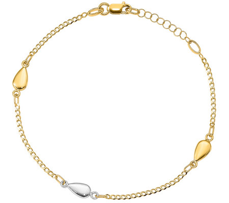 Italian Gold Two Tone Teardrop Station Bracelet 14k Gold