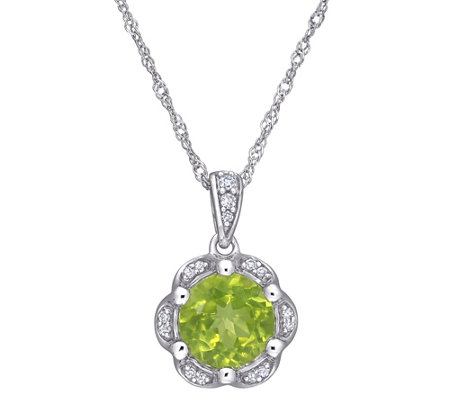14K 1.50 cttw Peridot & Diamond Accent Flower Pendant w/Chain
