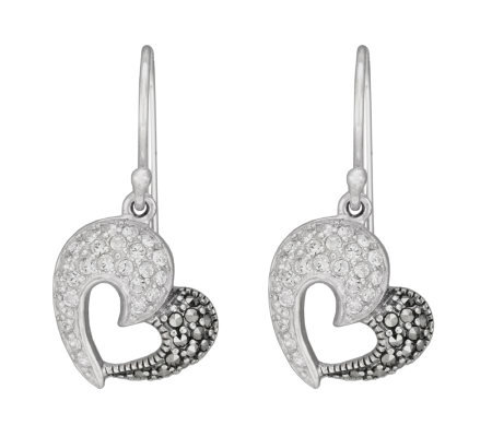 Suspicion Sterling Marcasite and Crystal HeartDangle Earrings