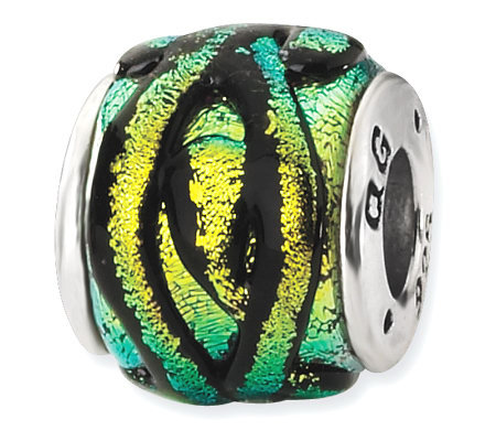 Prerogatives Sterling Yellow Dichroic Glass Striped Bead