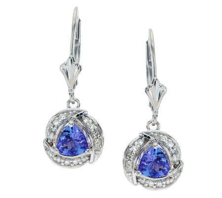 75 Ct Tw Trillion Cut Tanzanite Diamondsterling Earrings