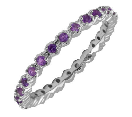 Simply Stacks Sterling Prong Amethyst EternityStackable Ring