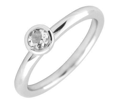 Simply Stacks Sterling 4mm Round White Topaz Solitaire Ring