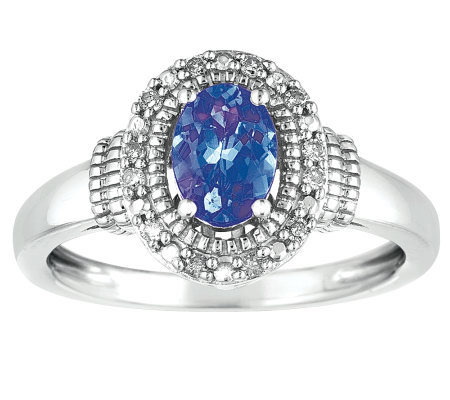Sterling Oval Tanzanite and Diamond Accent Ring
