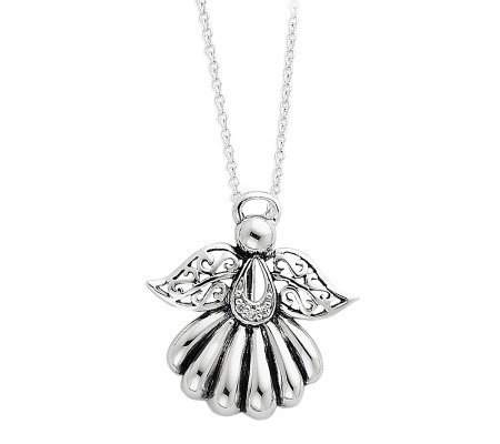 "Sentimental Expressions Sterling 18"" Angel Necklace"