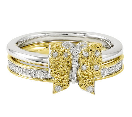 Simply Stacks Sterling Two-Tone Diamond Butterfly Ring Set