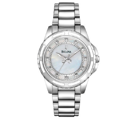 Bulova Ladies Mother-of-Pearl Diamond Dial Bracelet Watch