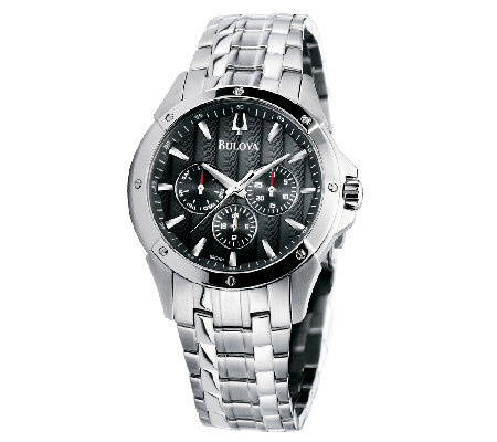 Bulova Men's Stainless Steel Black Textured Dial Watch