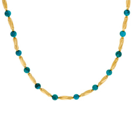 """As Is"" Bronze 18"" Turquoise Bead Station Necklace by Bronzo Italia"