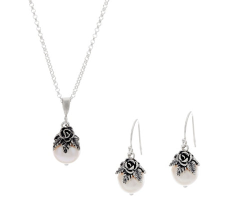 Or Paz Sterling Silver Cultured Pearl Necklace Earrings Set