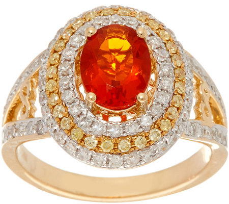 Graziela Gems Fire Opal & Diamond Ring 14K Gold