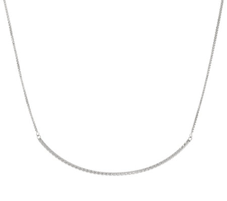 Sterling Silver Diamond Cut Curved Bar Necklace by Silver Style