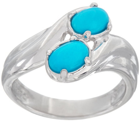 Sleeping Beauty Turquoise Bypass Sterling Silver Ring