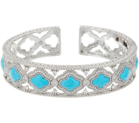 Judith Ripka Sterling Silver Diamonique & Turquoise Cuff Bracelet