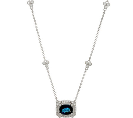 Judith Ripka Sterling Silver London Blue Topaz Necklace 3.00 cts.