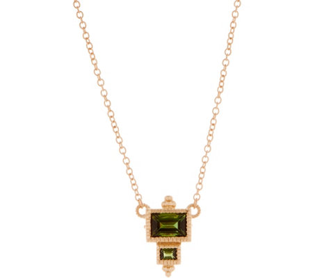 "Judith Ripka 14K Gold 0.50 cttw Green Tourmaline 18"" Necklace"