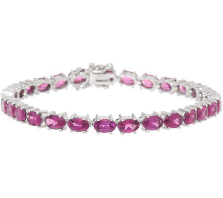 "Oval Purple Rhodolite Garnet 7-1/4"" Sterling Tennis Bracelet"