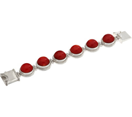 EXEX by Claudia Agudelo Sterling Silver Red Coral Bracelet